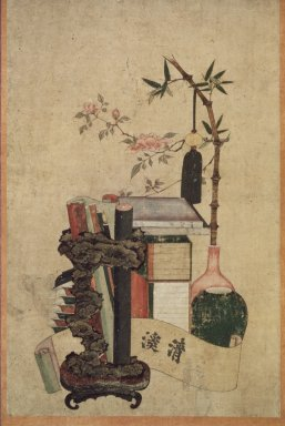 <em>Books and Scholar's Accoutrements</em>, 19th century. Ink and light color on paper, Image: 24 x 14 3/4 in. (61 x 37.5 cm). Brooklyn Museum, Purchased with funds given by Richard Tyner Shields, 85.79 (Photo: Brooklyn Museum, 85.79.jpg)