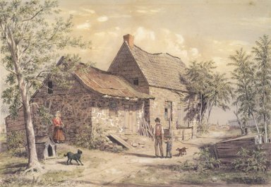William Rickarby Miller (American, 1818-1893). <em>Old Homestead, View of Brooklyn</em>, 1869. Watercolor and graphite on paper, 13 9/16 x 16 9/16 in. (34.4 x 42.1 cm). Brooklyn Museum, Purchased with funds given by Mr. and Mrs. Leonard L. Milberg, 85.82.1 (Photo: Brooklyn Museum, 85.82.1_cropped.jpg)