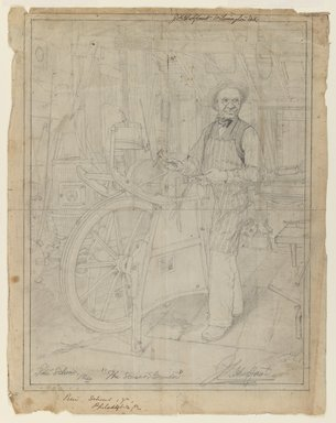 Jefferson David Chalfant (American, 1856-1931). <em>The Scissor Grinder</em>, n.d. Graphite with ink on paper, sheet: 14 13/16 x 11 5/8 in. (37.6 x 29.5 cm). Brooklyn Museum, Purchased with funds given by Mr. and Mrs. Leonard L. Milberg, 85.82.2 (Photo: Brooklyn Museum, 85.82.2_IMLS_PS3.jpg)