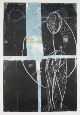 Julian Schnabel (American, born 1951). <em>Mother</em>, 1985. Etching and aquatint on lithographed map, 71 x 48 in. (180.3 x 121.9cm). Brooklyn Museum, Frank L. Babbott Fund, 86.105. © artist or artist's estate (Photo: Brooklyn Museum, 86.105_transpc001.jpg)