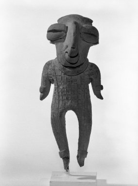 <em>Standing Figurine</em>. Ceramic, pigment, 4 1/4 x 1 3/4 x 1 11/16 in. (10.8 x 4.4 x 4.3 cm). Brooklyn Museum, Gift of Jonathan, Peter, and Timothy Zorach, 86.107.3. Creative Commons-BY (Photo: Brooklyn Museum, 86.107.3_front_bw.jpg)