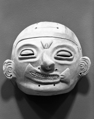 <em>Mask</em>. Ceramic, pigment, 5 5/16 x 6 5/16 x 3 in. (13.5 x 16 x 7.6 cm). Brooklyn Museum, Gift of Jonathan, Peter, and Timothy Zorach, 86.107.4. Creative Commons-BY (Photo: Brooklyn Museum, 86.107.4_bw.jpg)