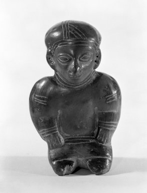<em>Whistle Figurine</em>. Ceramic, 3 3/16 x 2 1/4 x 1 11/16 in. (8.1 x 5.7 x 4.3 cm). Brooklyn Museum, Gift of Jonathan, Peter, and Timothy Zorach, 86.107.5. Creative Commons-BY (Photo: Brooklyn Museum, 86.107.5_front_bw.jpg)