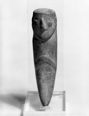 <em>Pendant</em>. Stone, 6 x 1 5/16 x 1 1/2 in. (15.2 x 3.3 x 3.8 cm). Brooklyn Museum, Gift of Jonathan, Peter, and Timothy Zorach, 86.107.7. Creative Commons-BY (Photo: Brooklyn Museum, 86.107.7_view1_bw.jpg)