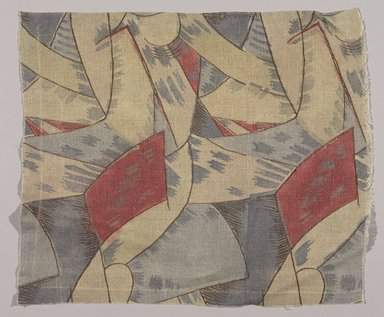 "Attributed to Roger Fry (English, 1866-1934). <em>Textile, ""Amenophis"" Pattern</em>, ca. 1913. Printed linen, 15 x 18 in. (38.1 x 45.7 cm). Brooklyn Museum, Designated Purchase Fund, 86.124 (Photo: Brooklyn Museum, 86.124_PS9.jpg)"
