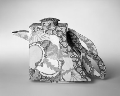 Concetta Fenicchia (American, born 1949). <em>Teapot with Cover</em>, ca. 1986. Glazed earthenware, 8 1/2 x 12 x 2 7/8 in. (21.6 x 30.5 x 7.3 cm). Brooklyn Museum, Gift of the artist, 86.125a-b. Creative Commons-BY (Photo: Brooklyn Museum, 86.125a-b_bw.jpg)