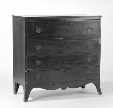 American. <em>Chest of Drawers</em>, ca. 1800-1810. Mahogany, cherry, pine, 42 1/4 x 43 1/4 x 18 1/2 in. (107.3 x 109.9 x 47 cm). Brooklyn Museum, Gift of Mrs. E. Ross Zogbaum, 86.129. Creative Commons-BY (Photo: Brooklyn Museum, 86.129_bw.jpg)