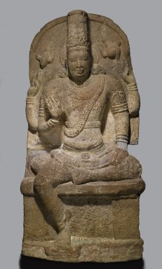 <em>Seated Vishnu</em>, 8th-9th century. Granite, 60 x 29 x 12 in., 900 lb. (152.4 x 73.7 x 30.5 cm, 408.24kg). Brooklyn Museum, Gift of Alice Boney, 86.133. Creative Commons-BY (Photo: Brooklyn Museum, 86.133_PS2.jpg)