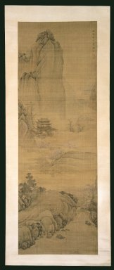Chen Zhuo (Chinese, active mid-late 17th century). <em>Pavilion In Spring Mountains</em>, Winter 1676. Ink and light color on silk, Image: 58 1/8 x 20 in. (147.6 x 50.8 cm). Brooklyn Museum, Gift of Dr. and Mrs. Robert Feinberg, 86.134.2 (Photo: Brooklyn Museum, 86.134.2_SL3.jpg)