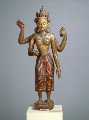<em>Vasudhara</em>, 16th century. Polychromed wood, 53 3/4 x 24 x 15 1/2 in. (136.5 x 61 x 39.4 cm). Brooklyn Museum, Gift of Dr. Bertram H. Schaffner, 86.137. Creative Commons-BY (Photo: Brooklyn Museum, 86.137_SL1.jpg)