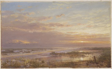 William Trost Richards (American, 1833-1905). <em>A High Tide at Atlantic City</em>, 1873. Opaque watercolor with touches of translucent watercolor on moderately thick, moderately textured wove paper, 8 7/16 x 13 15/16 in. (21.4 x 35.4 cm). Brooklyn Museum, Purchased with funds given by Mr. and Mrs. Leonard L. Milberg, 86.142 (Photo: , 86.142_SL3.jpg)