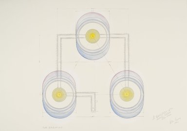 Alice Aycock (American, born 1946). <em>A Representation on the Second World:  Plan, Isometric and Sections</em>, 1984. Watercolor, graphite and chalk on paper, each section: 27 3/4 x 39 1/2 in. (70.5 x 100.3 cm). Brooklyn Museum, Anonymous gift, 86.151.1a-c. © artist or artist's estate (Photo: Brooklyn Museum, 86.151.1a_PS6.jpg)