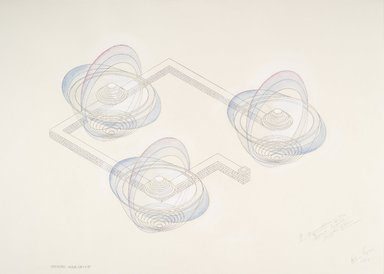 Alice Aycock (American, born 1946). <em>A Representation on the Second World:  Plan, Isometric and Sections</em>, 1984. Watercolor, graphite and chalk on paper, each section: 27 3/4 x 39 1/2 in. (70.5 x 100.3 cm). Brooklyn Museum, Anonymous gift, 86.151.1a-c. © artist or artist's estate (Photo: Brooklyn Museum, 86.151.1b_PS6.jpg)
