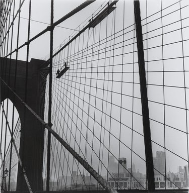 Arthur Leipzig (American, 1918-2014). <em>Brooklyn Bridge</em>, 1946. Gelatin silver photograph, sheet: 13 11/16 × 13 1/2 in. (34.7 × 34.3 cm). Brooklyn Museum, Gift of the artist, 86.152.16. © artist or artist's estate (Photo: Brooklyn Museum, 86.152.16_PS1.jpg)