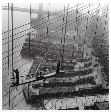Arthur Leipzig (American, 1918-2014). <em>Brooklyn Bridge</em>, 1946. Gelatin silver photograph, sheet: 14 1/4 x 14 in. (36.2 x 35.6 cm). Brooklyn Museum, Gift of the artist, 86.152.17. © artist or artist's estate (Photo: Brooklyn Museum, 86.152.17_PS2.jpg)