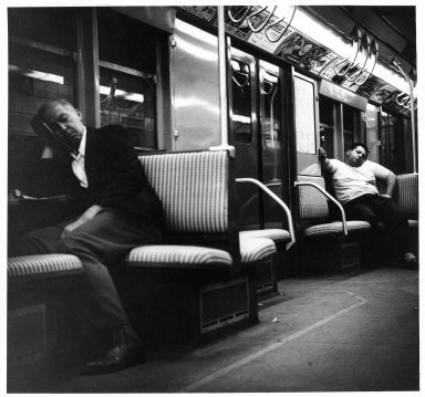 Arthur Leipzig (American, 1918-2014). <em>Subway</em>, 1949. Toned gelatin silver photograph, sheet: 8 × 10 in. (20.3 × 25.4 cm). Brooklyn Museum, Gift of the artist, 86.152.4. © artist or artist's estate (Photo: Brooklyn Museum, 86.152.4_bw.jpg)