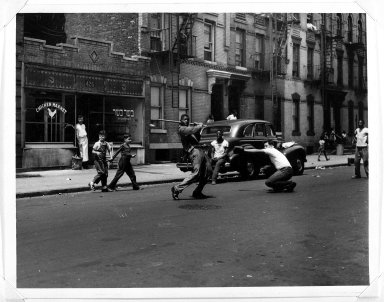 Arthur Leipzig (American, 1918-2014). <em>Stickball</em>, 1951. Toned gelatin silver photograph, sheet: 8 × 10 in. (20.3 × 25.4 cm). Brooklyn Museum, Gift of the artist, 86.152.5. © artist or artist's estate (Photo: Brooklyn Museum, 86.152.5_bw.jpg)