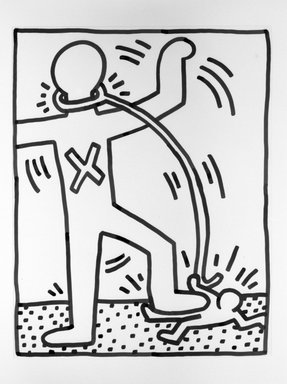 Keith Haring (American, 1958-1990). <em>Domination Through Servitude</em>, 1984. Sumi ink on paper, 23 x 29 in. (58.4 x 73.7 cm). Brooklyn Museum, Gift of Estelle Schwartz, 86.156. © artist or artist's estate (Photo: Brooklyn Museum, 86.156_bw.jpg)