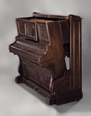 Smith & Co.. <em>Convertible Bed in Form of Upright Piano</em>, ca. 1885. Ebonized woods, metal, 55 1/2 x 54 3/4 x 27 in. (141 x 139.1 x 68.6 cm). Brooklyn Museum, Gift of Elinor Merrell, 86.176. Creative Commons-BY (Photo: Brooklyn Museum, 86.176.jpg)