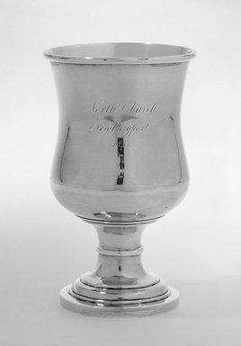 J.B. Jones. <em>Chalice (Church Goblet)</em>, ca. 1833. Silver, 6 1/8 in.  (19.4 cm); top diameter 3 1/2 in. (8.9 cm); foot diameter 2 7/8 in. (7.3cm). Brooklyn Museum, Gift of Wunsch Americana Foundation, Inc., 86.180.3. Creative Commons-BY (Photo: Brooklyn Museum, 86.180.3_bw.jpg)