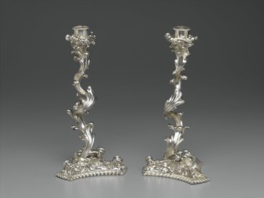 Gorham Manufacturing Company (1865-1961). <em>Candlestick, One of Pair</em>, ca. 1897. Silver, 10 1/2 x 5 x 5 in. (26.7 x 12.7 x 12.7 cm). Brooklyn Museum, H. Randolph Lever Fund, 86.181.1. Creative Commons-BY (Photo: , 86.181.1_86.181.2_PS2.jpg)