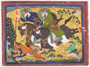 <em>Majaraha Ram Singh Hunting a Tiger</em>, 2nd quater of 19th century. Opaque watercolor on paper, 9 13/16 x 13 1/4 in. (25 x 33.6 cm). Brooklyn Museum, Gift of Patricia C. Jones, 86.187.2 (Photo: Brooklyn Museum, 86.187.2_IMLS_PS4.jpg)