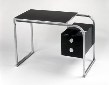 Gilbert Rohde (American, 1894-1944). <em>Desk</em>, ca. 1934. Chromed tubular steel, plastic laminate, wood, paint, 29 x 42 x 22 in. (73.7 x 106.7 x 55.9 cm). Brooklyn Museum, Designated Purchase Fund, 86.18. Creative Commons-BY (Photo: Brooklyn Museum, 86.18_transp6317.jpg)
