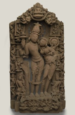 <em>Lakshmi Narayana</em>, 10th century. Sandstone, 43 1/2 x 22 1/2 x 7 in. (110.5 x 57.2 x 17.8 cm). Brooklyn Museum, Purchase gift of the Charles Bloom Foundation, Inc., 86.191. Creative Commons-BY (Photo: Brooklyn Museum, 86.191_PS2.jpg)