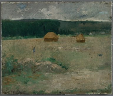 Theodore Wendel (American, 1859-1932). <em>Giverny Farm</em>, ca. 1886. Oil on canvas mounted on woodboard, 14 15/16 x 17 15/16 in. (38 x 45.5 cm). Brooklyn Museum, Gift of Mr. and Mrs. John I. H. Baur, 86.194 (Photo: Brooklyn Museum, 86.194_PS2.jpg)