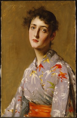 William Merritt Chase (American, 1849-1916). <em>Girl in a Japanese Costume</em>, ca. 1890. Oil on canvas, 24 5/8 x 15 11/16 in. (62.5 x 39.8 cm). Brooklyn Museum, Gift of Isabella S. Kurtz in memory of Charles M. Kurtz, 86.197.2 (Photo: , 86.197.2_SL3.jpg)