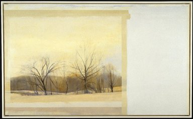 Sylvia Plimack Mangold (American, born 1938). <em>The Inversion</em>, 1984. Oil on linen, 60 x 100 in. (152.4 x 254 cm). Brooklyn Museum, Gift of Henry, Cheryl, Daniel, Michael, and Willie Welt in memory of Abraham Joseph Welt, 86.200. © artist or artist's estate (Photo: Brooklyn Museum, 86.200_SL1.jpg)