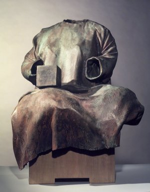 Judith Shea (American, born 1948). <em>The Balance</em>, 1986. Cast bronze with birch plywood base, 36 1/2 x 28 1/2 x 21 in.  (92.7 x 72.4 x 53.3 cm). Brooklyn Museum, Purchased with funds given by Ira and Wendy Weinstein and Carll H. de Silver Fund, 86.202a-b. © artist or artist's estate (Photo: Brooklyn Museum, 86.202a-b.jpg)
