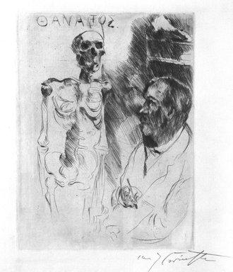 Lovis Corinth (German, 1858-1925). <em>The Artist and Death I (Der Kunstler und der Tod I)</em>, 1916. Etching and drypoint on laid paper, Image (Plate): 10 1/2 x 7 15/16 in. (26.7 x 20.2 cm). Brooklyn Museum, Gift of Dr. Bertram H. Schaffner, 86.216 (Photo: Brooklyn Museum, 86.216_bw.jpg)