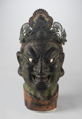 <em>Head of a Guardian</em>, 13th century. Hinoki wood with lacquer on cloth, pigment, rock crystal, metal, 22 1/16 x 10 1/4 x 13 15/16 (56.0 x 26.0 x 35.5 cm). Brooklyn Museum, Gift of Mr. and Mrs. Alastair B. Martin, the Guennol Collection, 86.21. Creative Commons-BY (Photo: , 86.21_PS9.jpg)