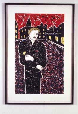 Kevin Larmee (born 1946). <em>Cigarette</em>, 1985. Lithograph, Sheet: 48 1/16 x 31 7/8 in. (122 x 81 cm). Brooklyn Museum, Purchase gift of David C. Lamb, 86.220. © artist or artist's estate (Photo: Brooklyn Museum, 86.220_transpc001.jpg)