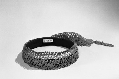 Nazca-Wari (Attributed by Novuko Kajitani, 1993). <em>Headband</em>, 200-1000. Cotton, 2 1/2 × 40 in. (6.4 × 101.6 cm). Brooklyn Museum, Gift of the Ernest Erickson Foundation, Inc., 86.224.100. Creative Commons-BY (Photo: Brooklyn Museum, 86.224.100_bw_acetate.jpg)