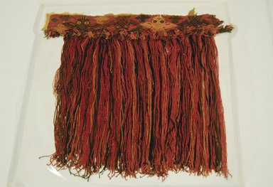 Paracas Necropolis. <em>Tunic Fragment</em>, 800 B.C.E.-C.E. 600. Cotton, camelid fiber, 19 11/16 x 18 7/8 in. (50 x 48 cm). Brooklyn Museum, Gift of the Ernest Erickson Foundation, Inc., 86.224.105. Creative Commons-BY (Photo: Brooklyn Museum, 86.224.105_front_PS5.jpg)