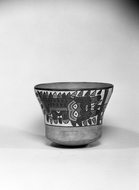 Nazca. <em>Bowl</em>, 100-300 C.E. Ceramic, polychrome slip, 4 1/4 x 5 3/4 x 5 3/4 in. (10.8 x 14.6 x 14.6 cm). Brooklyn Museum, Gift of the Ernest Erickson Foundation, Inc., 86.224.113. Creative Commons-BY (Photo: Brooklyn Museum, 86.224.113_acetate_bw.jpg)