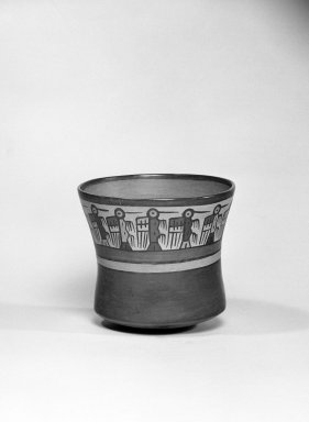 Nazca. <em>Jar</em>, 100-300 C.E. Ceramic, polychrome slip, 4 3/4 x 3 3/4 x 3 3/4 in. (12.1 x 9.5 x 9.5 cm). Brooklyn Museum, Gift of the Ernest Erickson Foundation, Inc., 86.224.114. Creative Commons-BY (Photo: Brooklyn Museum, 86.224.114_bw_acetate.jpg)