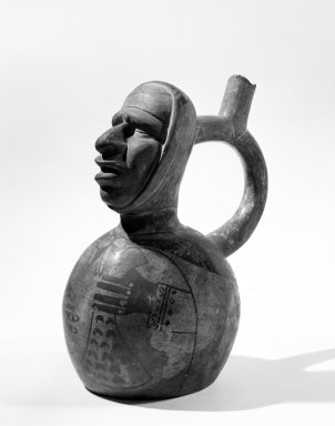 Nazca. <em>Human Head Jar</em>, 300-600 C.E. Ceramic, polychrome slip, 5 1/4 x 4 x 4 in. (13.3 x 10.2 x 10.2 cm). Brooklyn Museum, Gift of the Ernest Erickson Foundation, Inc., 86.224.115. Creative Commons-BY (Photo: Brooklyn Museum, 86.224.115_bw_acetate.jpg)