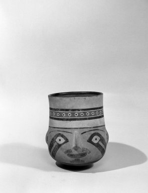 Moche. <em>Effigy Vessel</em>, 300-500 C.E. Clay, slip, 9 1/2 x 5 1/2 x 8 1/4 in. (24.1 x 14 x 21 cm). Brooklyn Museum, Gift of the Ernest Erickson Foundation, Inc., 86.224.116. Creative Commons-BY (Photo: Brooklyn Museum, 86.224.116_bw_acetate.jpg)