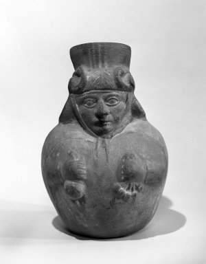 Moche. <em>Effigy Jar</em>, 300-500 C.E. Ceramic, slip, 10 1/2 x 7 1/4 in. Brooklyn Museum, Gift of the Ernest Erickson Foundation, Inc., 86.224.117. Creative Commons-BY (Photo: Brooklyn Museum, 86.224.117_bw_acetate.jpg)
