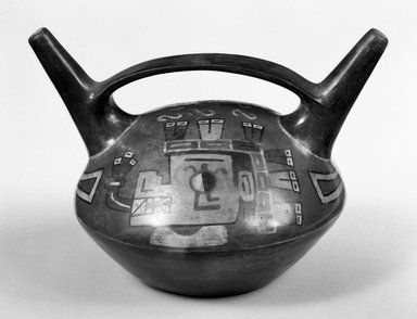 Nazca-Wari. <em>Double-Spout Vessel with Bridge</em>, 600-1000 C.E. Clay, polychrome slip, 5 11/16 x 6 1/8 x 3 1/8 in. (14.4 x 15.6 x 7.9 cm). Brooklyn Museum, Gift of the Ernest Erickson Foundation, Inc., 86.224.11. Creative Commons-BY (Photo: Brooklyn Museum, 86.224.11_bw.jpg)