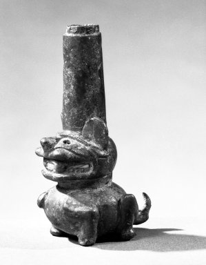 Chimú. <em>Ornament</em>, 1000-1500. Bronze, 4 3/16 × 1 3/4 × 2 in. (10.6 × 4.4 × 5.1 cm). Brooklyn Museum, Gift of the Ernest Erickson Foundation, Inc., 86.224.122. Creative Commons-BY (Photo: Brooklyn Museum, 86.224.122_bw_acetate.jpg)