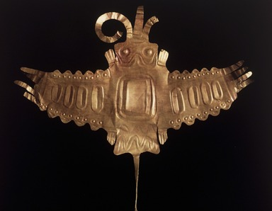 Nazca. <em>Ornament, perhaps a Dance Wand</em>, 50 B.C.E.-100 C.E. Hammered gold, 11 1/2 × 13 3/8 in., 77.45 g (29.2 × 34 cm). Brooklyn Museum, Gift of the Ernest Erickson Foundation, Inc., 86.224.126. Creative Commons-BY (Photo: Brooklyn Museum, 86.224.126.jpg)