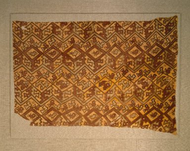 Chancay. <em>possible Dress fragment</em>, 1000-1532. Cotton, pigment, 39 1/2 x 28 1/2 in. (100.3 x 72.4 cm). Brooklyn Museum, Gift of the Ernest Erickson Foundation, Inc., 86.224.129a. Creative Commons-BY (Photo: Brooklyn Museum, 86.224.129a_SL1.jpg)