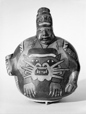 Nazca. <em>Effigy Vessel</em>, 20th century. Ceramic, polychrome slip, 7 1/4 x 6 1/4 x 5 5/8in. (18.4 x 15.9 x 14.3cm). Brooklyn Museum, Gift of the Ernest Erickson Foundation, Inc., 86.224.12. Creative Commons-BY (Photo: Brooklyn Museum, 86.224.12_front_bw.jpg)