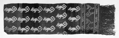 Chancay. <em>Loincloth, Fragment or Textile Fragment, unassertainable</em>, 1000-1532. Cotton, camelid fiber, 10 1/4 x 36 in. (26 x 91.5 cm). Brooklyn Museum, Gift of the Ernest Erickson Foundation, Inc., 86.224.130. Creative Commons-BY (Photo: Brooklyn Museum, 86.224.130_bw_acetate.jpg)
