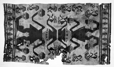 Chimú / Chancay. <em>Tunic Fragment</em>, 1400-1532. Cotton slit-tapestry weave, 10 1/4 x 36 5/8 in.  (26.0 x 93.0 cm). Brooklyn Museum, Gift of the Ernest Erickson Foundation, Inc., 86.224.131. Creative Commons-BY (Photo: Brooklyn Museum, 86.224.131_bw_acetate.jpg)