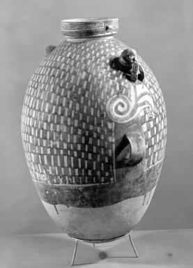 Chancay. <em>Jar with Monkey Decoration</em>, 1000-1400. Clay, slips, 23 x 6 1/8 in.  (58.4 x 15.6 cm). Brooklyn Museum, Gift of the Ernest Erickson Foundation, Inc., 86.224.134. Creative Commons-BY (Photo: Brooklyn Museum, 86.224.134_bw_acetate.jpg)